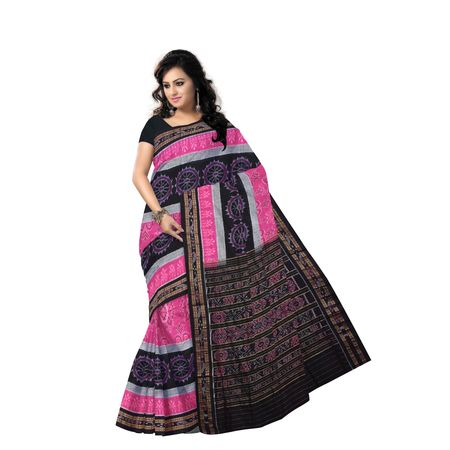 AJ000155: Handloom Sambalpuri Ikat Cotton Saree in Pink and Black made in Odisha