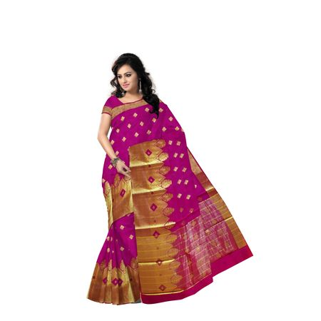 Magenta With Golden Handloom Temple Design Banaras cotton Silk Saree of Uttar Pradesh AJ001575