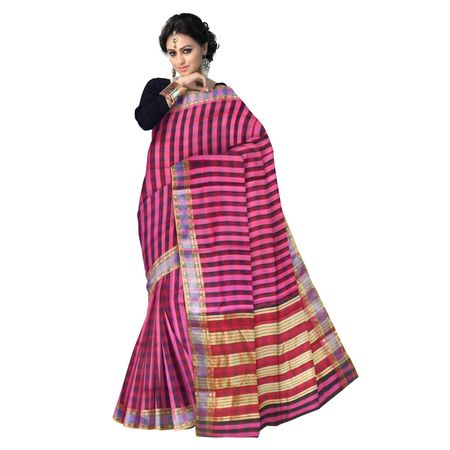 OSSMH003: 6 Yards Handwoven pink with black check cotton sarees