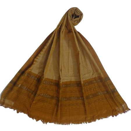 OSS166: Grey with Mustard color handloom cotton dupatta.