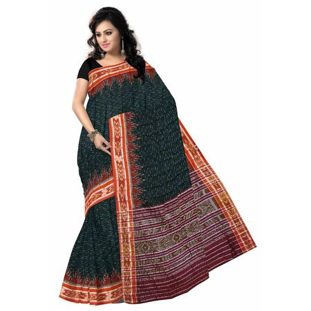 OSS411: Green color Handwoven Cotton sari made for gift