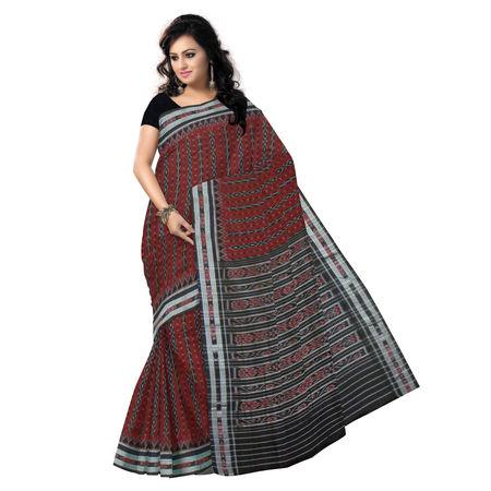 OSS070: Deep Maroon Ikat design cotton sarees from odisha