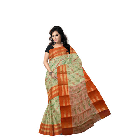 AJ000142: Block Print Handwoven Light Orange Block Print Cotton Saree of West Bengal