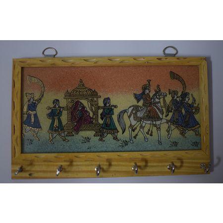 Handcrafted Gemstone Painting Wooden Key Hanger AJ001412