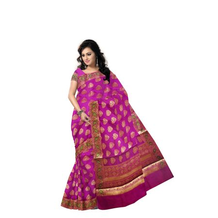 Magenta With Golden Handloom Buti Design Banaras cotton Silk Saree of Uttar Pradesh AJ001597