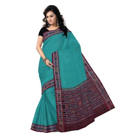 OSS035: Light Green handmade buti design cotton saree