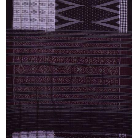 AJ001151: Deep Coffee with White Handloom cotton saree of Odisha.