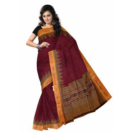 OSS410: Handwoven Maroon color Ikat Cotton Sari