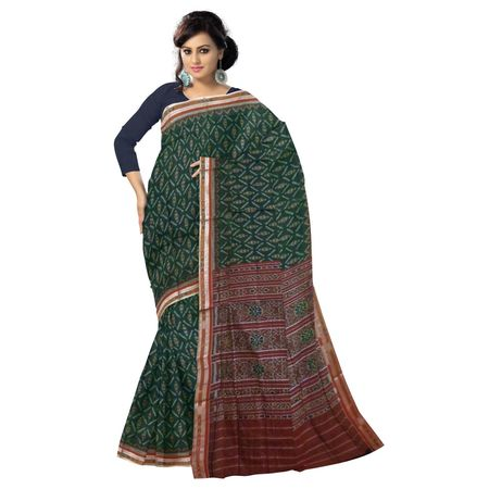 OSS2052: Deep green color sambalpuri Cotton saree from ikat design online shopping