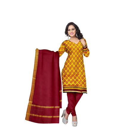 Yellow With Deep Red Printed Handloom Cotton Dress Material of Telangana AJ001535