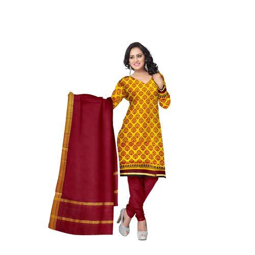 Yellow With Deep Red Printed Handloom Cotton Dress Material of Telangana AJ001535