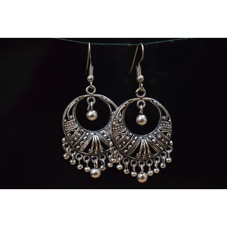 Black Metal Oxidized Handmade Rajasthani earrings jhumkas AJ00113