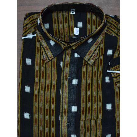 Handloom Sambalpuri Cotton Half Shirt in Black AJ001182