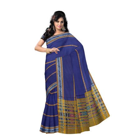 OSS9110: Navy Blue with Mustard pure handloom mercerized sambalpuri cotton sari.