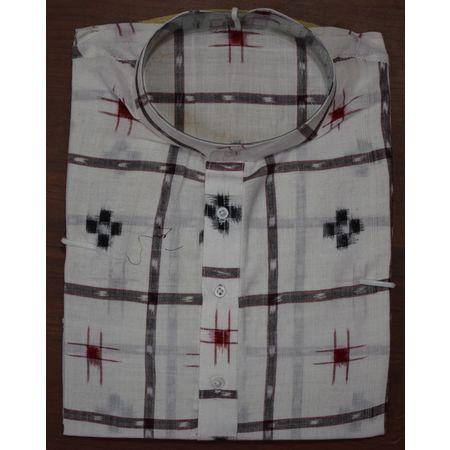 Handloom Sambalpuri Pasapalli Cotton Kurta in White AJ001201