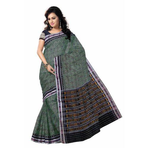 OSS7403: Grey color handwoven cotton sarees of odisha.