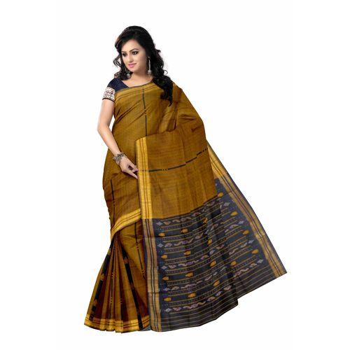 OSS6177: Traditional Yellow bomkai cotton sarees of sambalpur