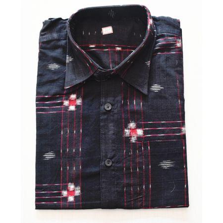 Black With Multi Handloom Half Shirt for Men Made in Odisha Sambalpur AJ001731
