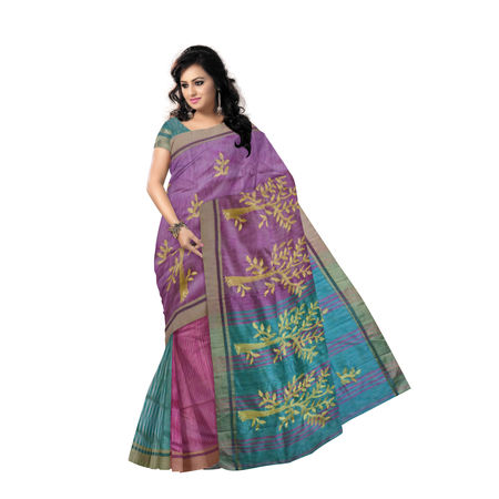 OSSWB9032: Purple with Green Border handwoven Kathi Silk Saree.