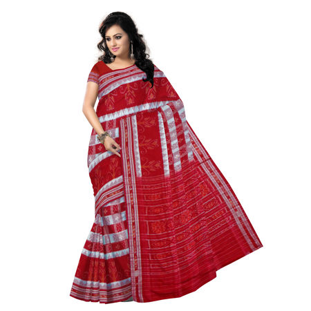 OSS116: White-Red Handloom Mercerized Sambalpuri Saree
