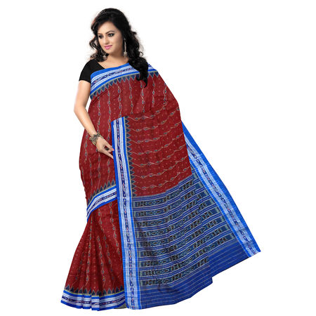OSS249: Deep Maroon with blue color border handloom cotton sarees, maroon