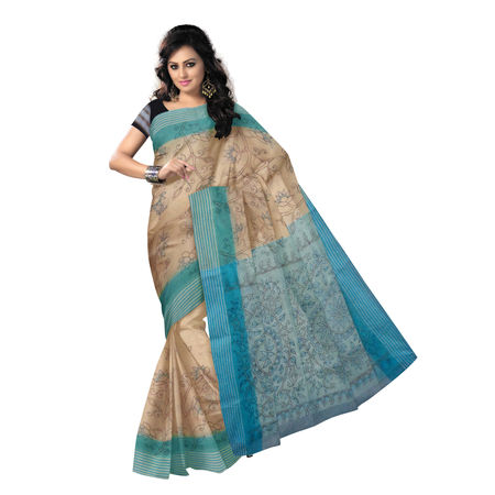 OSSWB9047: Off White Kantha Stitch Handlloom cotton sari.