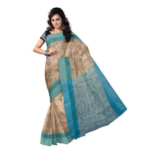 OSSWB9047: Off White Kantha Stitch Handlloom cotton sari.