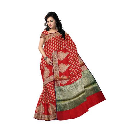 OSSUP111: Red Banarashee Cotton Silk Saree for festive wear