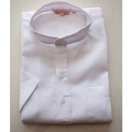 Handmade White Color Plain Design Cotton Shirt Made In South India AJ001166 (Size-42)