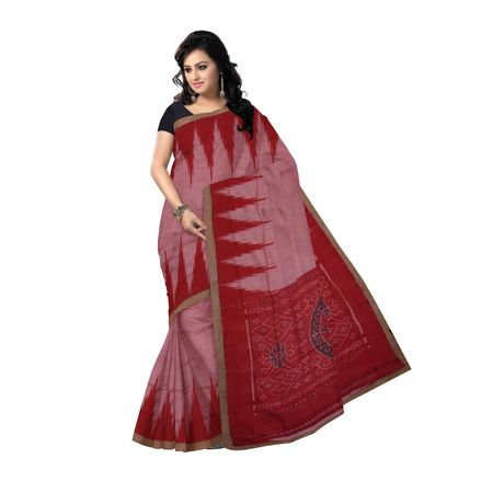 OSS7562: Light Red color Handwoven Cotton sarees of odisha.