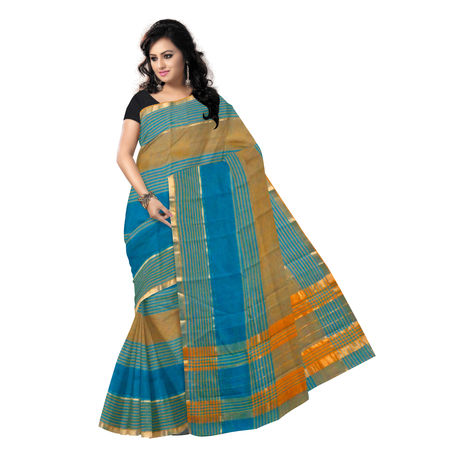 OSSTG013: Handwoven Green kanchi Cotton Saree
