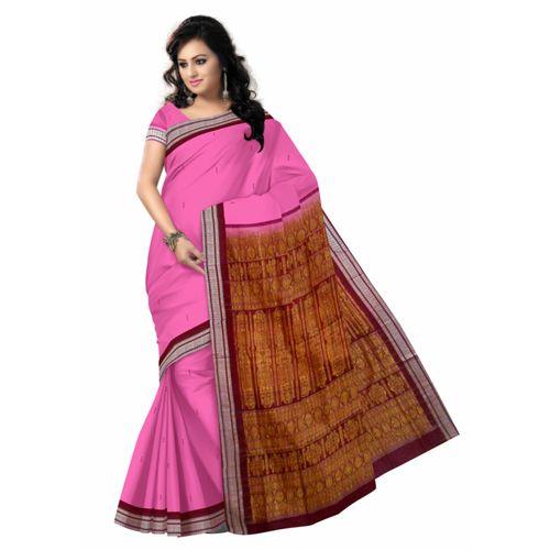 OSS40005: Pink color handwoven Bomkai cotton saree best for Durga puja gift