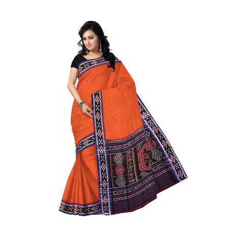 OSS038: Deep Brick with Indigo colour buti design Handmade cotton saree