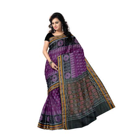 OSS252: Beautiful purple with Black Pure handloom Cotton Saree, purple