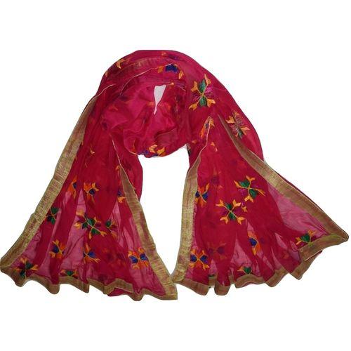 OSSPN001: Punjabi Hand Embroidery Phulkari Buty Work Faux Chiffon Pink Dupatta, Stoles.