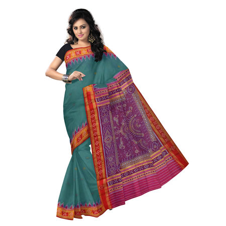 OSS266: Handloom pure silk saree from odisha with buti and pasapalli border.