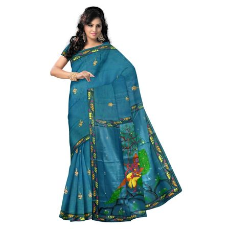 OSS20042: Blue Patachitra Saree of raghurajpur, for festival wear.
