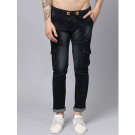 Stylox Men Black Slim Fit Stretchable Mid Rise Washed Jogger-DNM-JGR-BLK-4133-03, 30