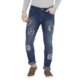 Stylox Men's Navy Blue Slim Fit Cat Scratch Stretchable Jeans-DNM-BRPT-4120, 34