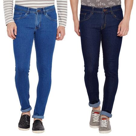 Stylox Stylish Pack Of 2 Cotton Jeans For Men-Light Blue/Dark Blue-DNM-COMBO2-NEW-1001-1002, 36