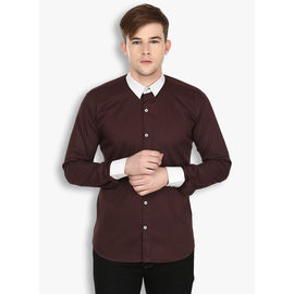Stylox Men's Solid Casual Brown Shirt(SHT029), 44
