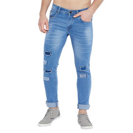 Stylox Men's Premium Stretchable Slim Fit Whisker Washed Patch Work Blue Jeans-DNM-DBL-4129, 28