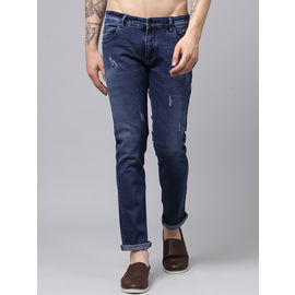 Stylox Men Dark Blue Slim Fit Stretchable Mid Rise Damaged Washed Jeans-DNM-DB-4136-03, 36