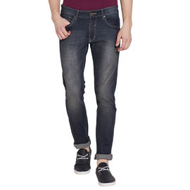 Stylox Men's Stylish Premium Stretchable Slim Fit Mid Rise Light Shaded Brown Tint Jeans-DNM-BRT-4084-02, 28