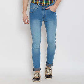 Stylox Premium Men's Stylish Stretchable Slim Fit Mid Rise Light Blue Shaded Jeans-DNM-LB-4092, 32