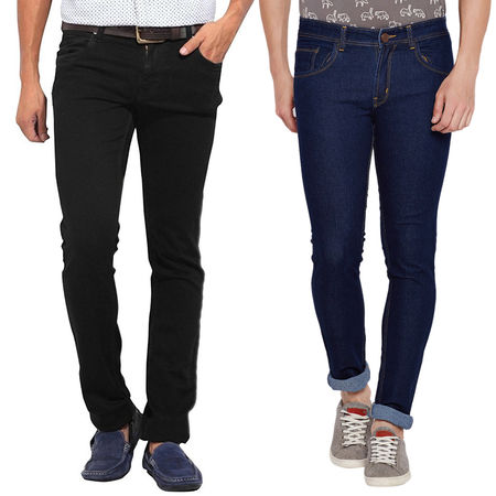 Stylox Stylish Pack Of 2 Cotton Jeans For Men-Black/Dark Blue-DNM-COMBO2-NEW-1002-1003, 36
