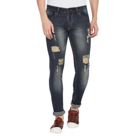Stylox Men' s Premium Stretchable Casual Wear Slim Fit Mid-Rise Highly distressed Jeans-DST-DMG-4064, 28