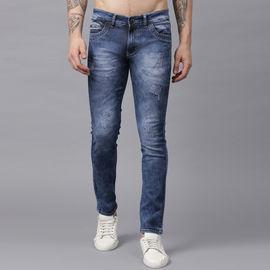 Stylox Men Blue Damaged Whisker Washed Jeans-DNM-CLDDBDMG-4141-04, 34