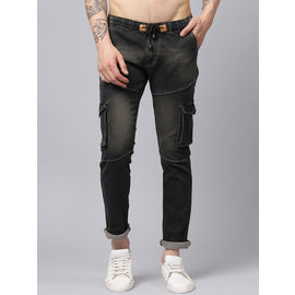 Stylox Men Brown Slim Fit Stretchable Mid Rise Washed Jogger-DNM-JGR-BRN-4133-02, 28
