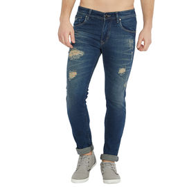 Stylox Men's Slim Fit Blue Mid Rise Cleans Look Stretchable Jeans-DNM-BRD-4132-01, 30